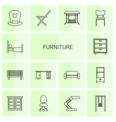 14 furniture icons vector
