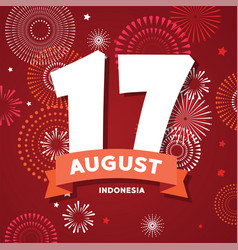 17 of august on firework background poster for vector image