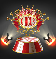 3d realistic circus stage illuminated vector