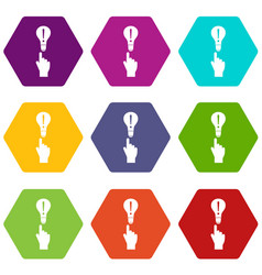 a finger pointer and light bulb icon set color vector image