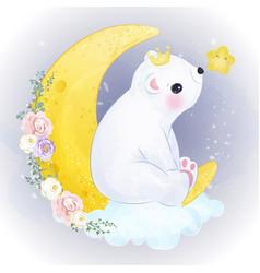 Adorable polar bear in watercolor vector