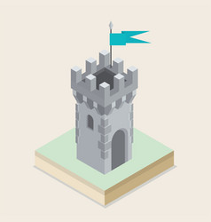 An isometric castle tower vector