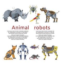 Animal robots inscription mechanical toy future vector