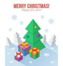 Axonometric Christmas greeting card in flat style vector image