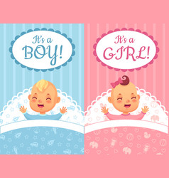 Baby shower cards its a boy and girl label cute vector