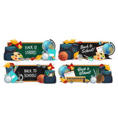 back to school banners with education supplies vector image