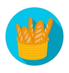 Basket of baguette icon in flat style isolated on vector image