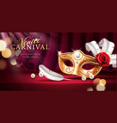 Beads and golden mask at mardi gras parade banner vector