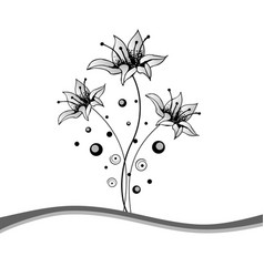 beautiful black and white floral frame vector image vector image