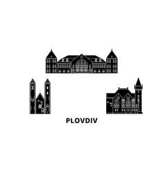 Bulgaria plovdiv flat travel skyline set vector
