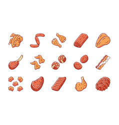 Butchers meat color icons set grilled chicken vector