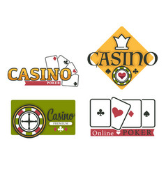 casino online logo set with cards and roulette vector image