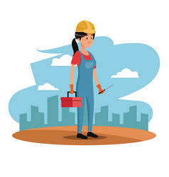 Character woman employee worker construction vector
