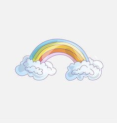 color rainbow with clouds cute cartoon rainbow vector image