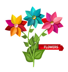 colorful bunch of flowers isolated on white vector image