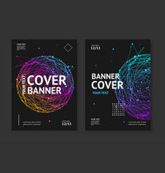 Cover banner card music placard set with abstract vector