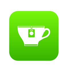 cup with teabag icon digital green vector image
