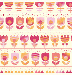 Cute pastel rosy spring flowers seamless pattern vector