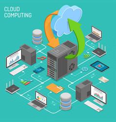 Data network cloud computing technology isometric vector
