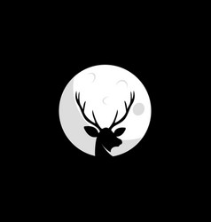 deer in the moon shape logo design vector image