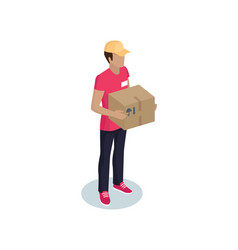 Delivery guy in baseball cap with package icon vector
