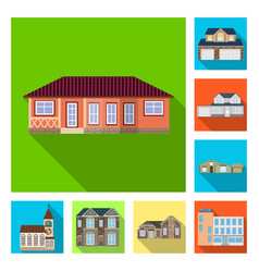 Design of building and front sign set of vector