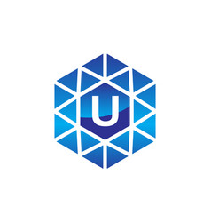 diamond initial u vector image