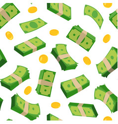 Different banknotes dollars and coins vector