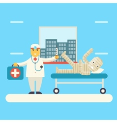 Doctor with Bandaged Patient characters Icon vector image