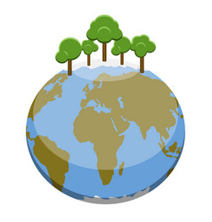 earth plantet with trees vector image