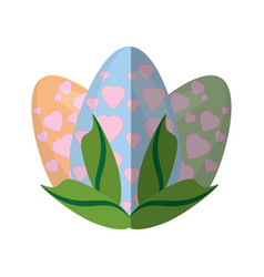 Easter egg heart decoration leaves shadow vector