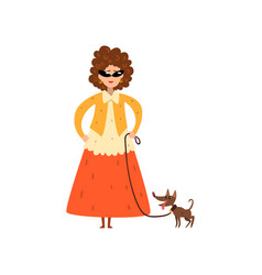 elegant woman walking with her small pet dog vector image