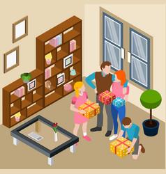 family home celebration isometric vector image