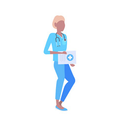 female doctor with stethoscope holding clipboard vector image