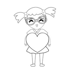 Figure pretty girl with heart and glasses vector