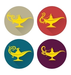 Flat aladdin lamp icons set vector image