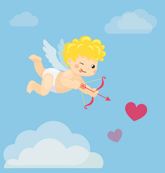 flying cupid with bow and arrow in blue sky vector image