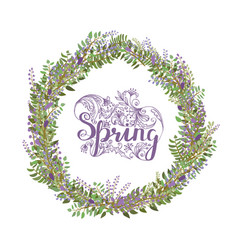 fresh spring frame with lettering and flowers vector image