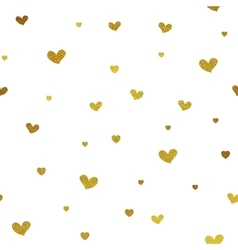 Gold glitter background with hearts vector