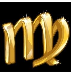 Gold zodiac sign Scorpio on black background vector image
