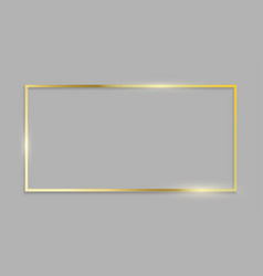 Golden frame shiny border on transparent vector