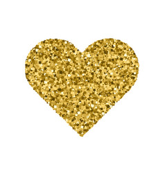 golden heart isolated on white vector image