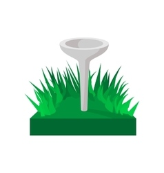 Golf tee on green grass cartoon icon vector image