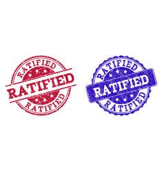 Grunge scratched ratified stamp seals vector