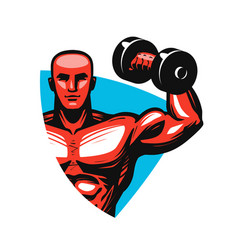 Gym logo or label sport concept vector