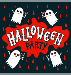 halloween party text banner handwritten letters vector image