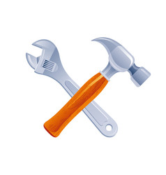 Hammer and wrench tools cross cartoon icon vector