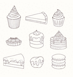 Hand drawn pastry set with cakes pies tarts vector