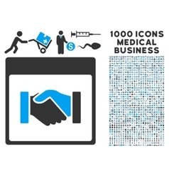 Handshake Calendar Page Icon With 1000 Medical vector