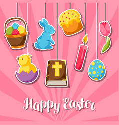 Happy easter greeting card with decorative objects vector